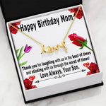 Birthday gifts for mom from son - Thank you for laughing with us in the best of times – Love symbol necklace for mother