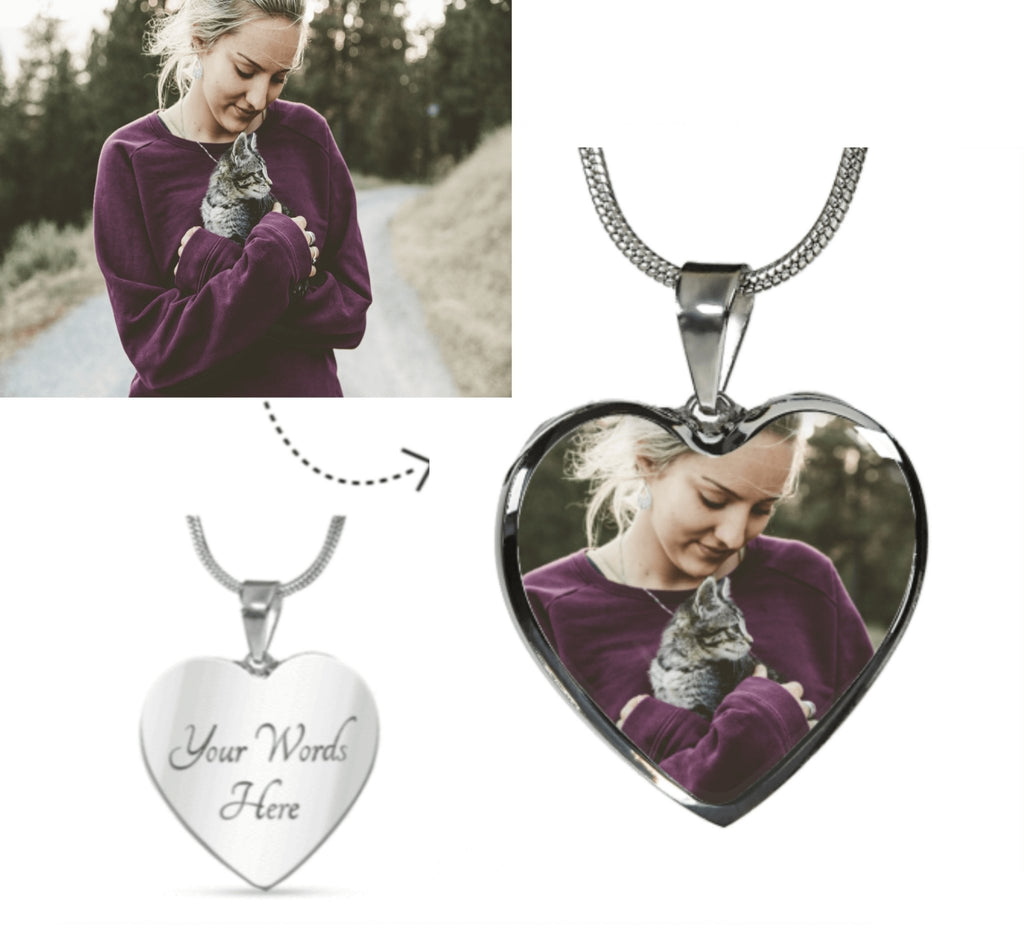 Cat Photo Necklace - Personalized cat photo pendant - Pet Cat Heart Photo Charm Silver Necklace