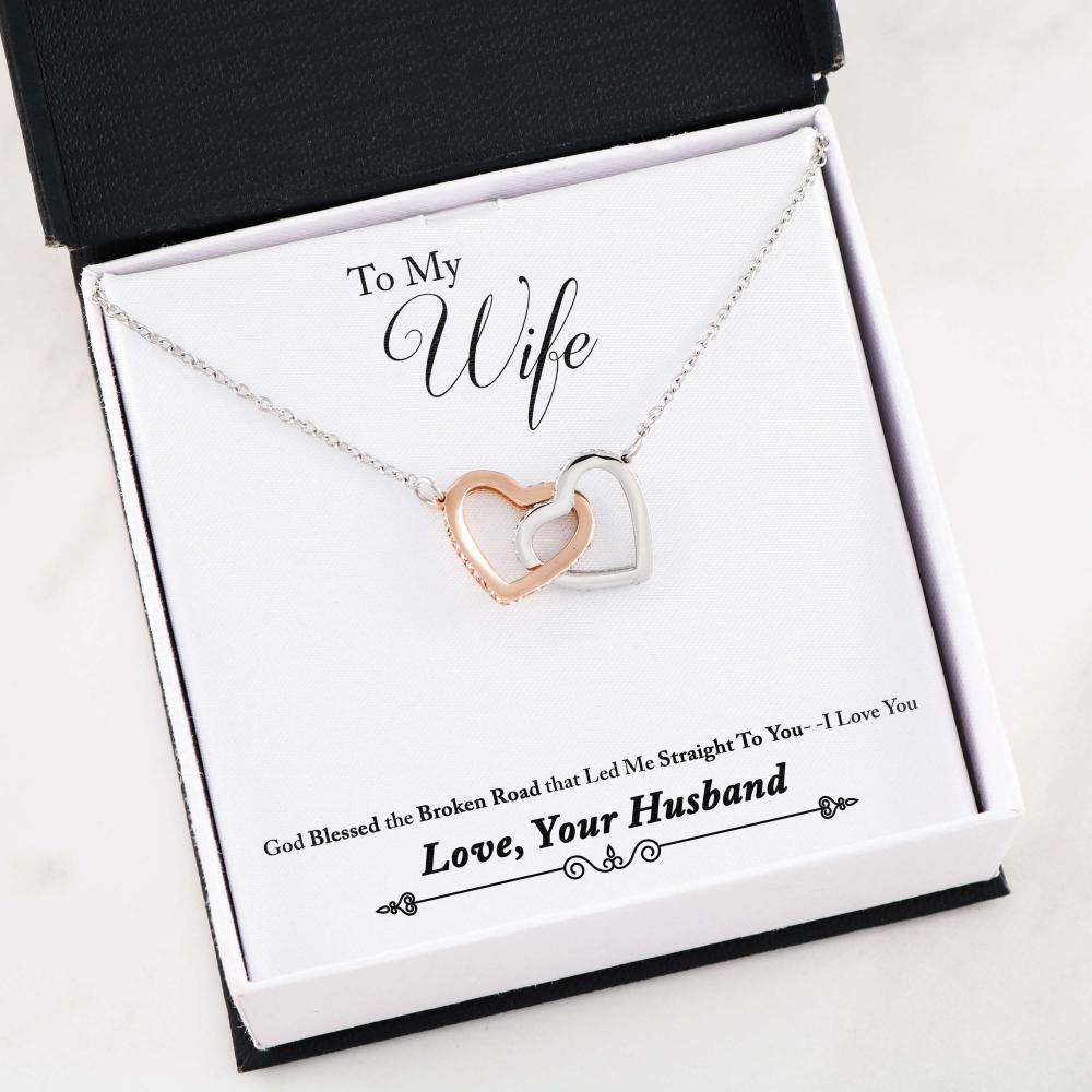 Christmas gifts for wife - God bless the broken road that led me straight to you I Love You Gift Necklace