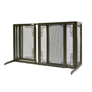 Deluxe Freestanding Mesh Pet Gate Brown 52.2″ – 69.1″ x 27″ x 36.2″