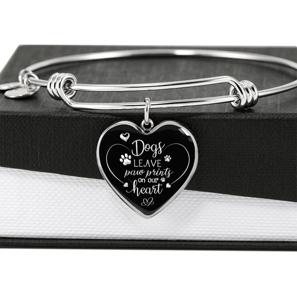Dog lover bracelet - Dogs Leave Paw Prints On Our Heart - Adjustable Luxury Bangle