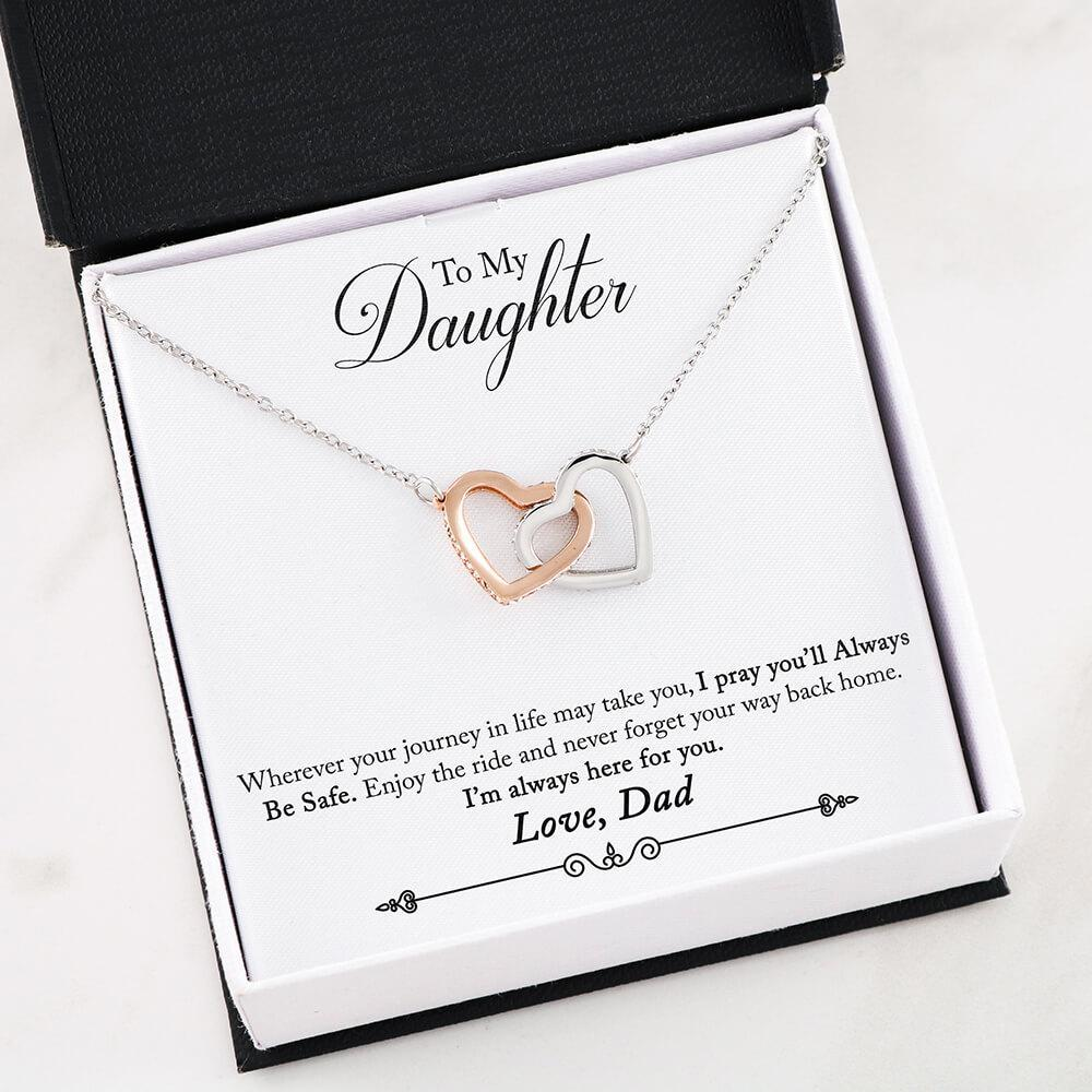 Father daughter jewelry - Two Hearts Interlocked I pray you'll Always Be Safe Gift Necklace for Daughter