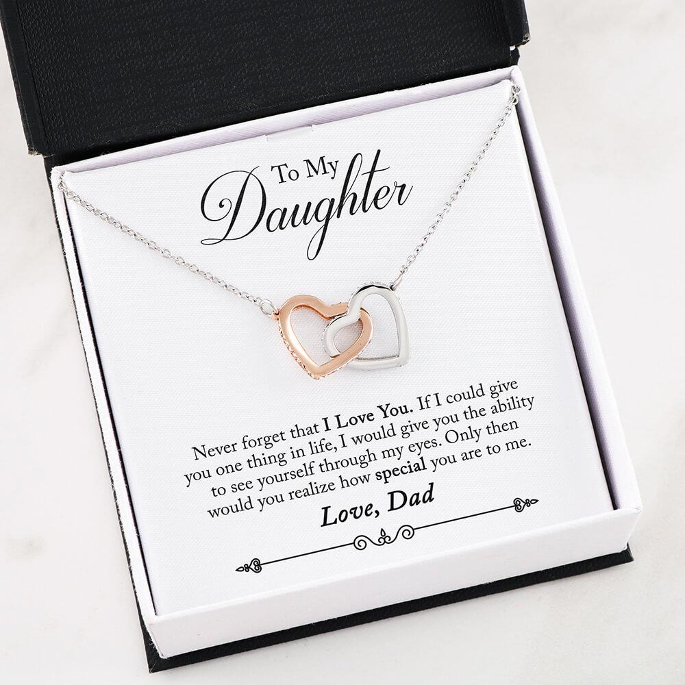 Father daughter Necklace - Two Hearts Interlocked Never Forget That I Love You Gift Necklace for Daughter