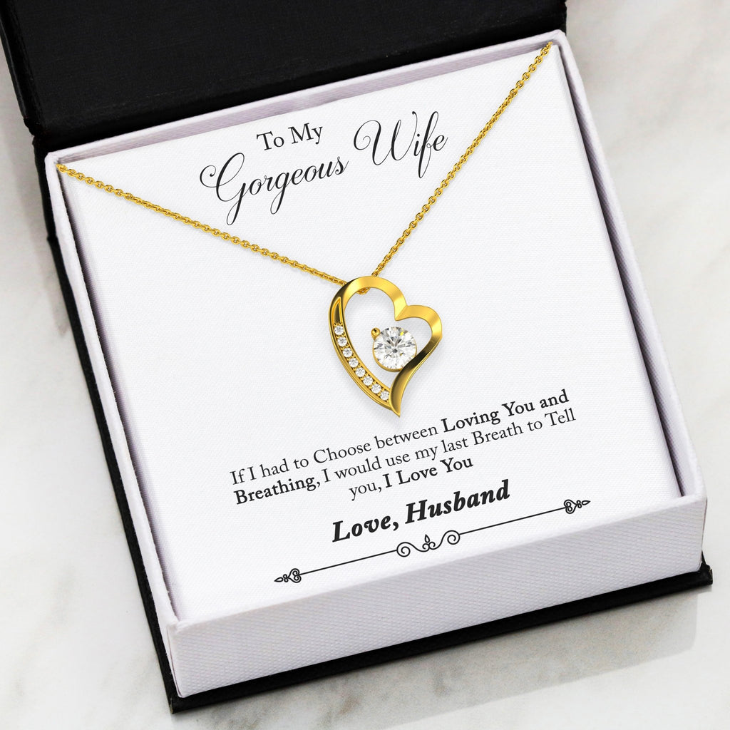 Gifts for wife - I would use my last breath to tell you I Love You Husband To Wife Gift Necklace