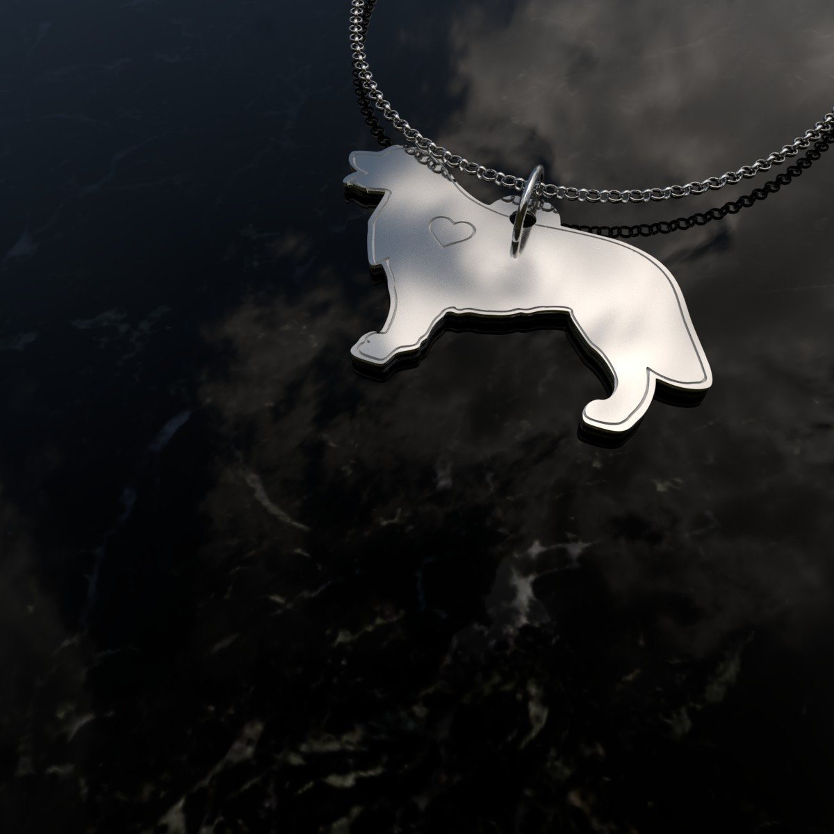 Gold Retriever - Sterling Silver Necklace