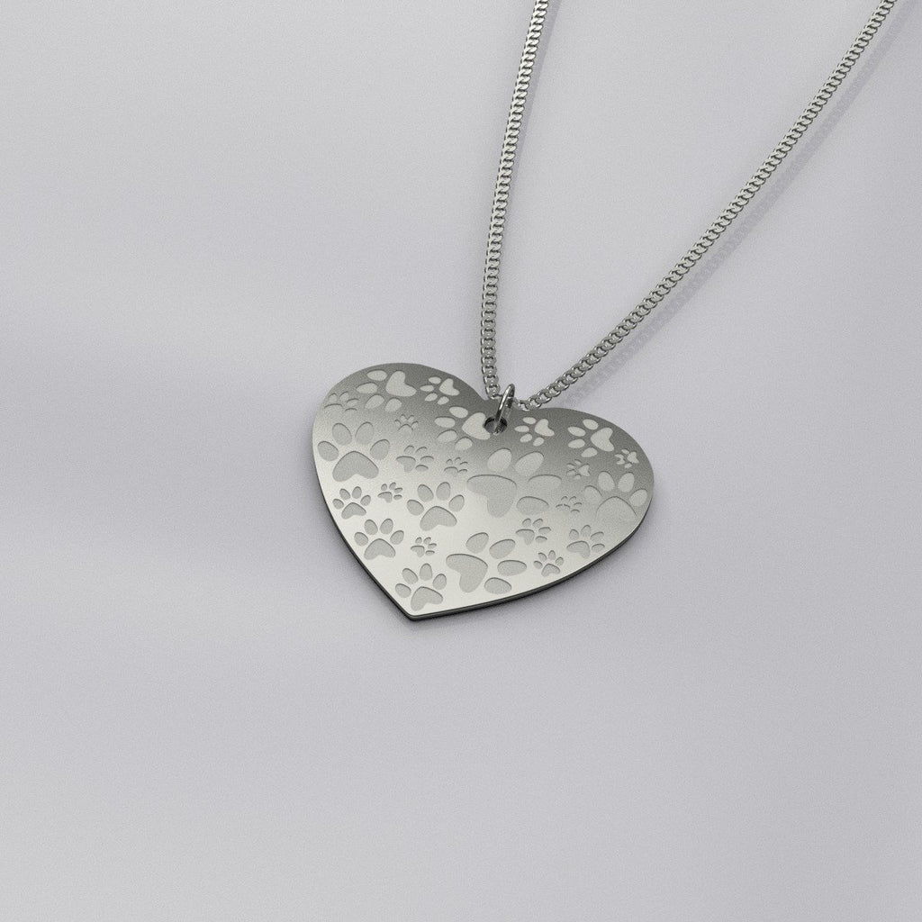Heart Shaped Paw Print Necklace