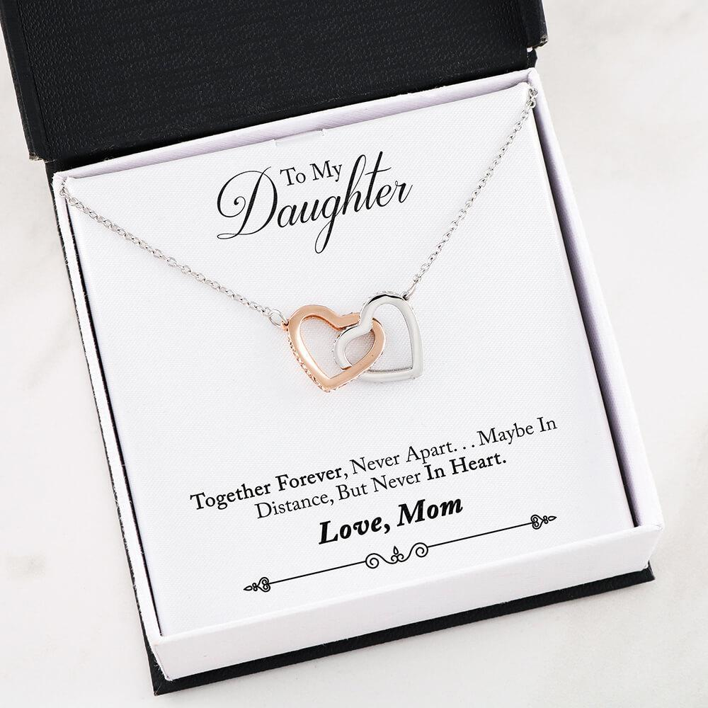 Mother daughter Necklace - Two Hearts Interlocked Together Forever Never Apart Gift Necklace for Daughter