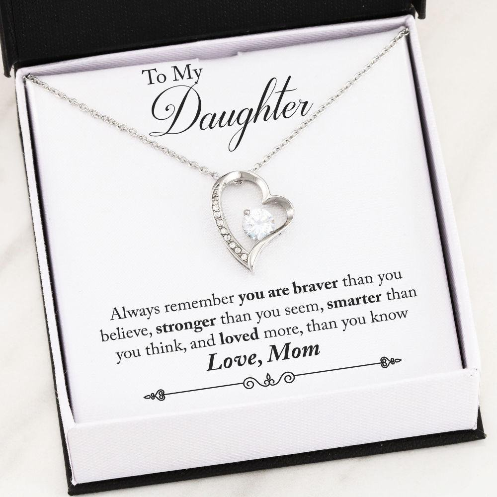 Mother to daughter jewelry - You Are Braver Than You Believe Gift Necklace for Daughter