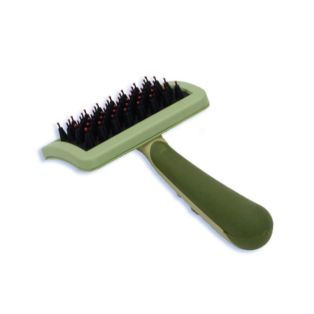Nylon Coated Tip Dog Brush for Short haired Breeds Green 6.75″ x 4″ x 1″