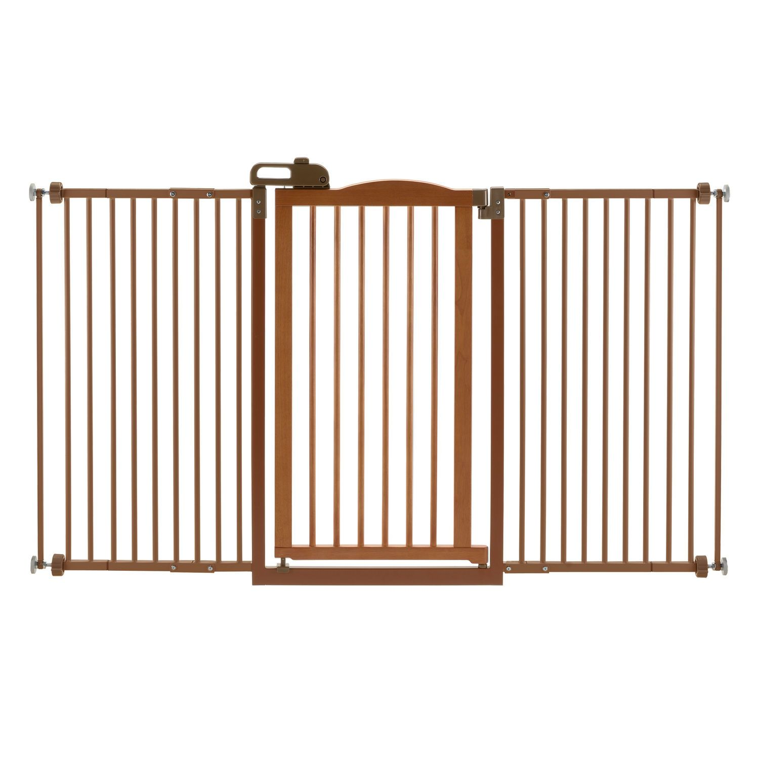 One-Touch Tall and Wide Pressure Mounted Pet Gate II Brown 32.1″ – 62.8″ x 2″ x 38.4″
