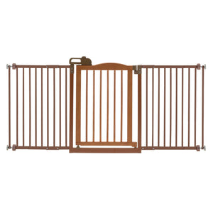 One-Touch Wide Pressure Mounted Pet Gate II Brown 32.1″ – 62.8″ x 2″ x 30.5″