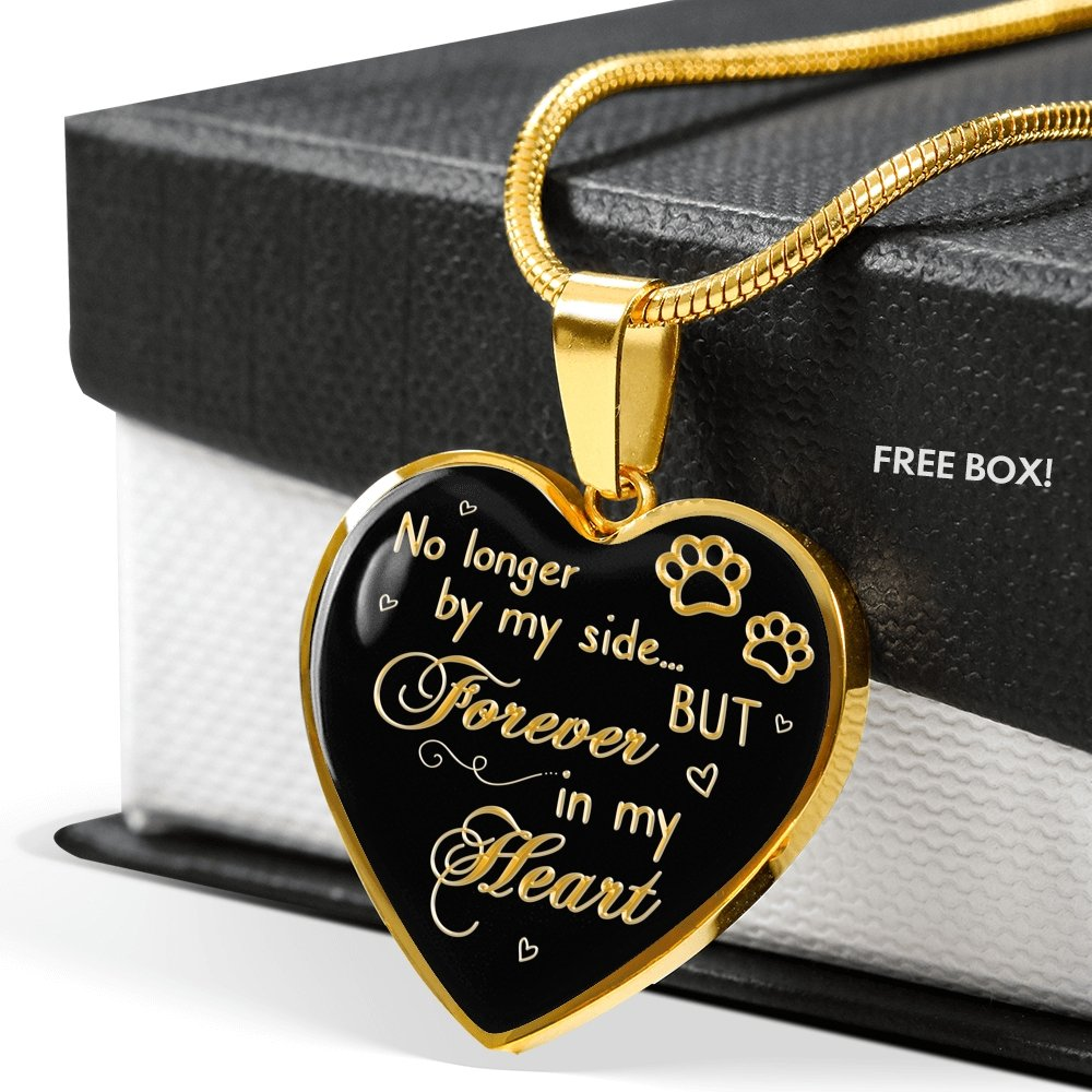 Personalized Dog Memorial Necklace - No Longer By My Side But Forever In My Heart Dog lover Necklace