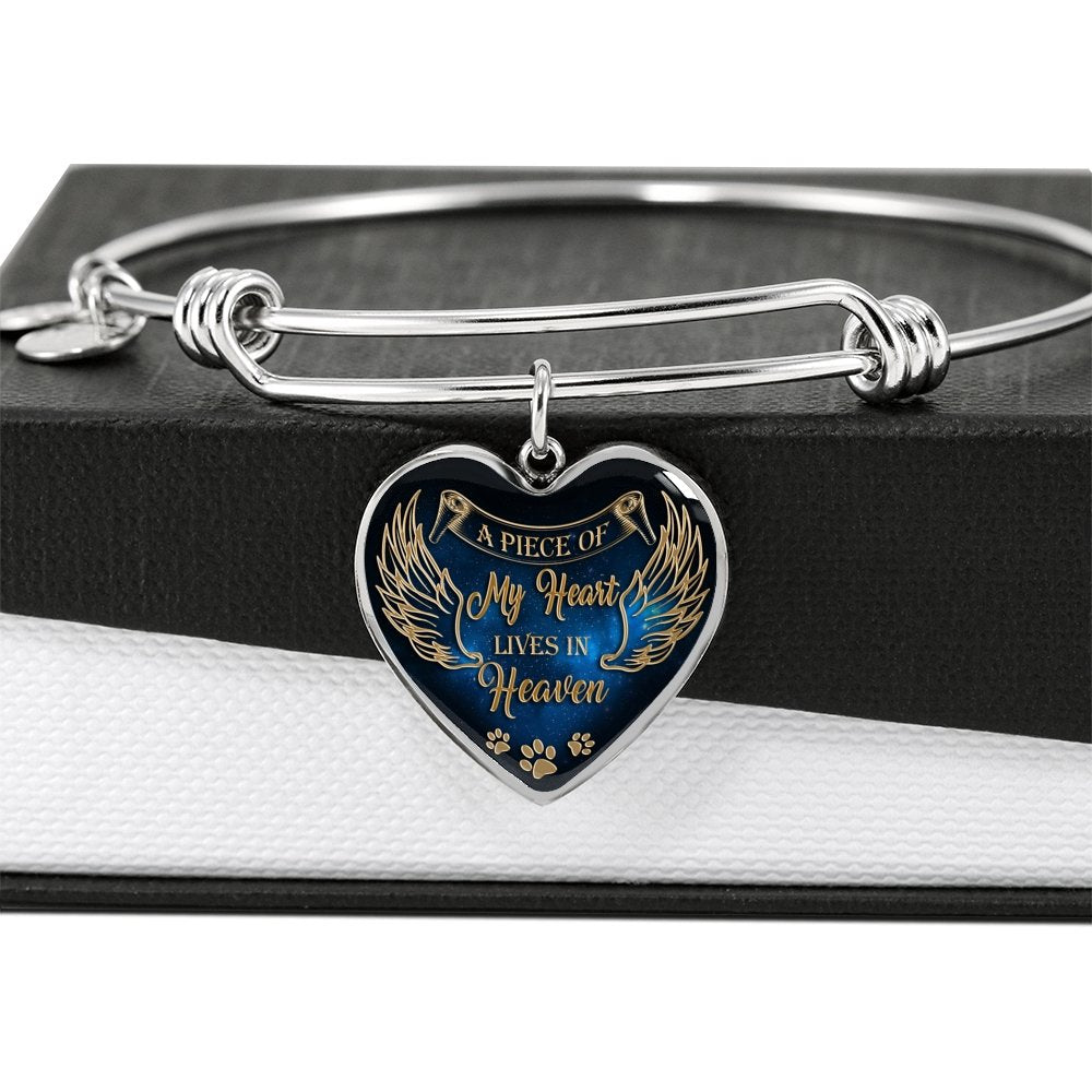 Personalized Pet loss Remembrance Bracelet A piece of my heart is in heaven dog Memorial gift