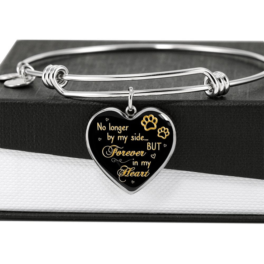 Pet Memorial Gift Loss of Pet Bracelet No Longer by My Side but Forever in My Heart