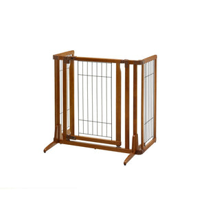 Richell Premium Plus Freestanding Pet Gate with Door Brown 34″ – 63″ x 20.5″ – 26″ x 32″