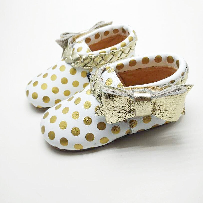Daisy Glam - White with Gold Polka dots