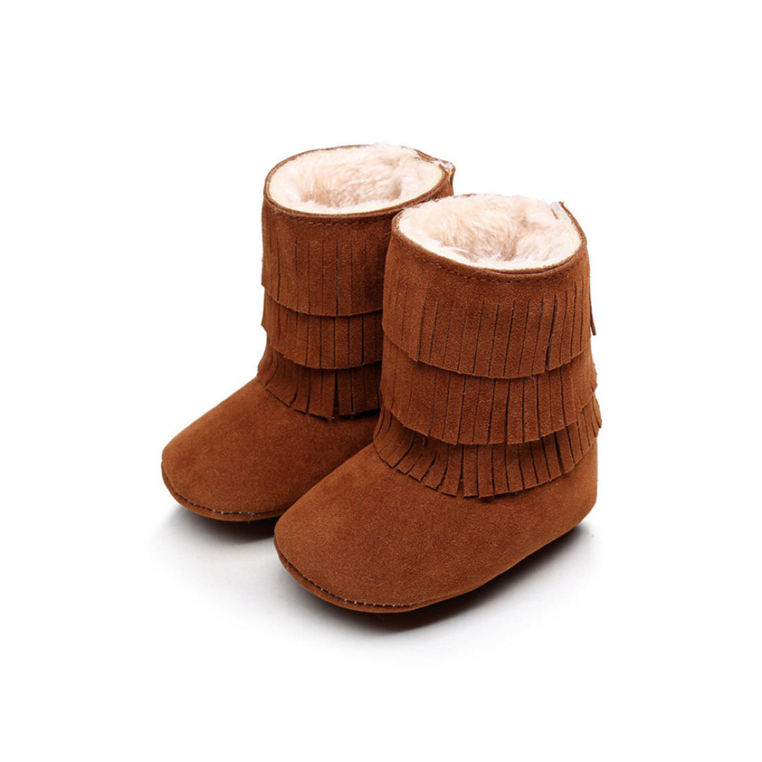 Suede Fringed Warm Boots - Deep Camel brown
