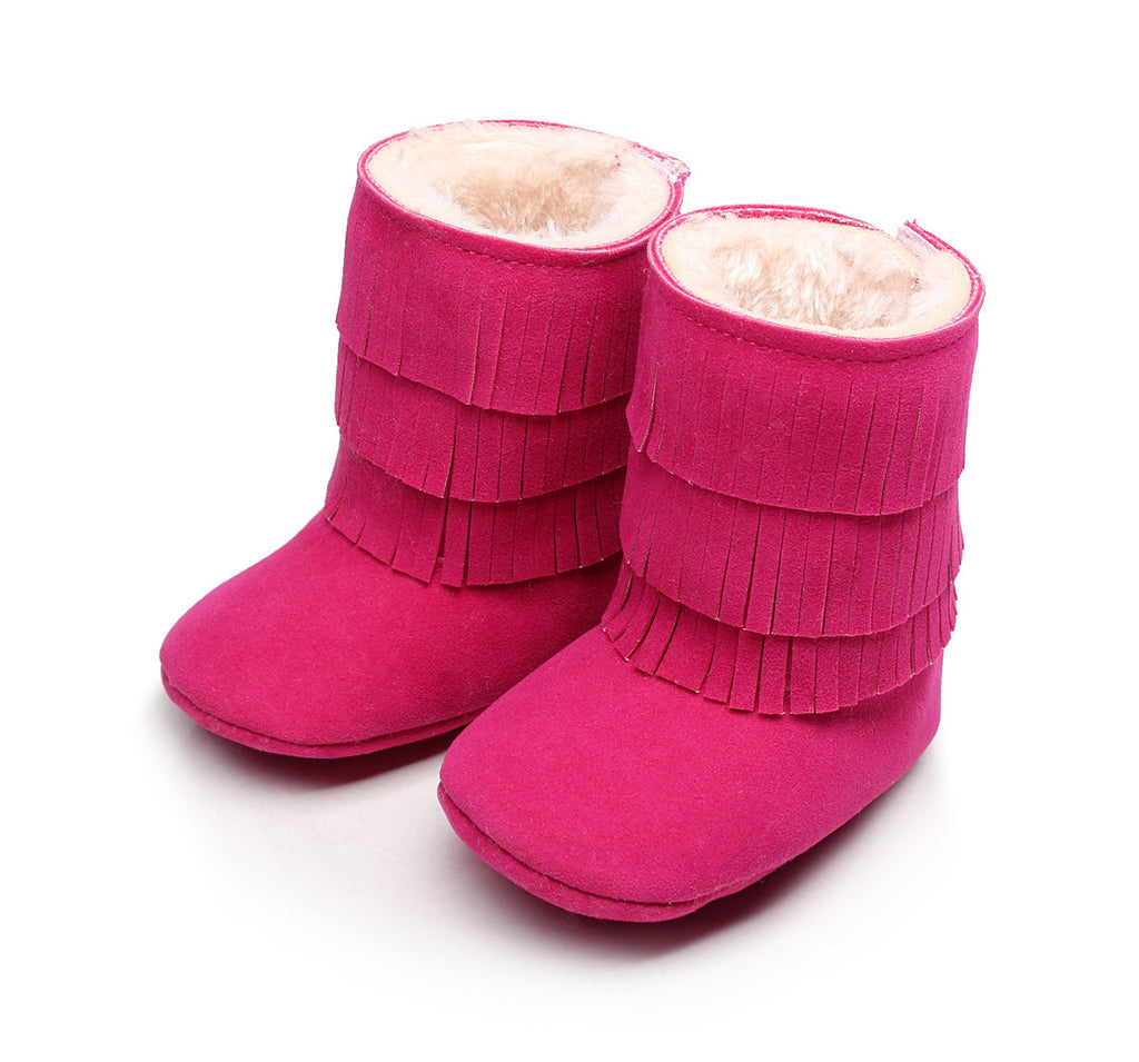 Suede Fringed Warm Boots - Deep Pink