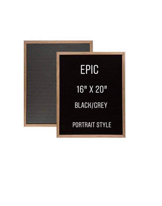 "EPIC | 16x20"" Double-Sided Grey/Black Letter Board (PORTRAIT)"