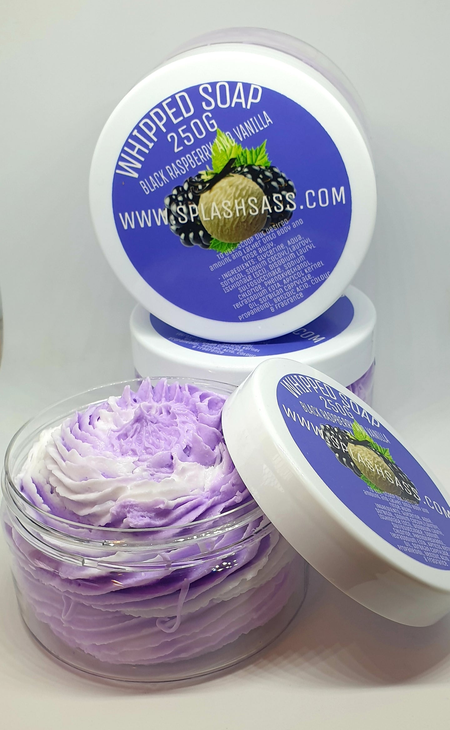 Black Raspberry and Vanilla Whipped Soap - Splash-&-Sass