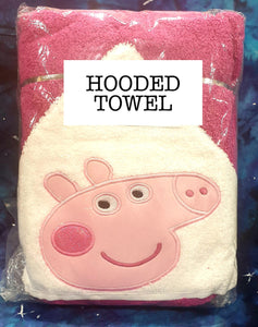Pink Girl Pink Towel Pig Hooded Towel