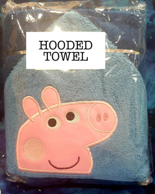 Blue Boy Pig Hooded Towel
