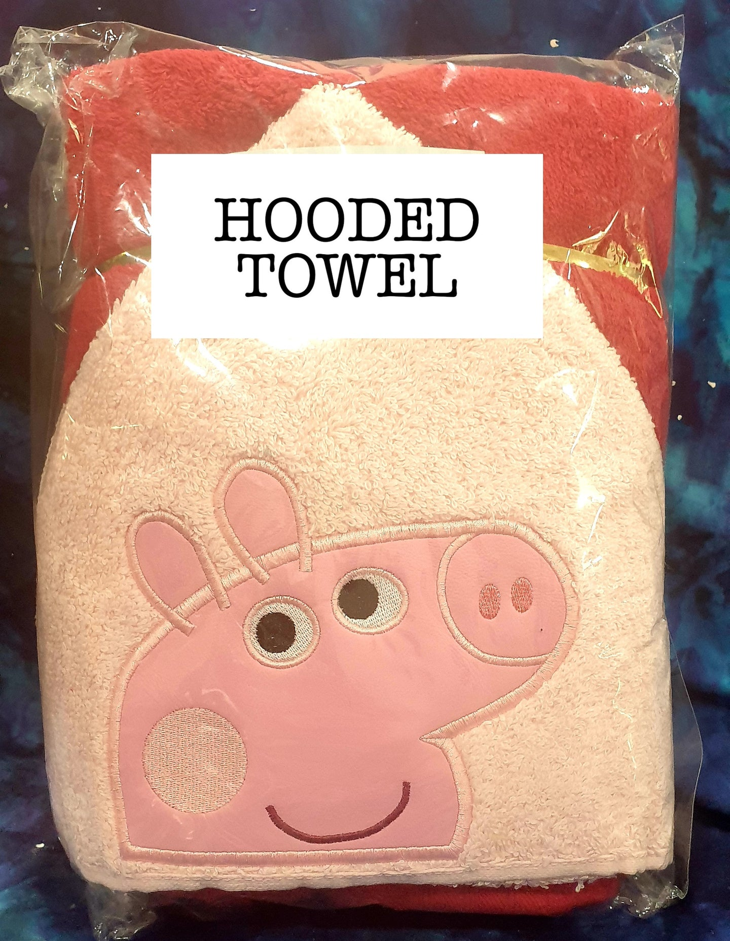 Pink Girl Pig Red Towel  Hooded Towel