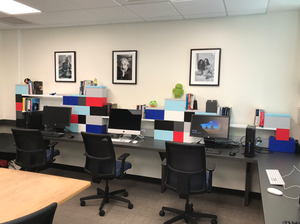 Build desktop shelving and brighten work spaces with color.