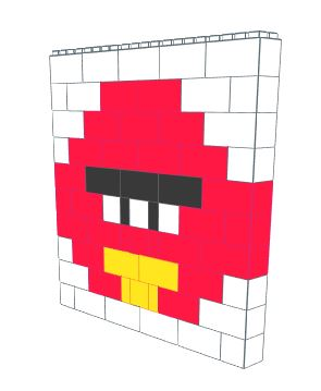 Mosaic Wall - Angry Bird - 5 Ft x 1 Ft x 5 Ft 1 In