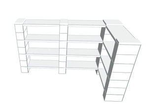 "Shelving - 78"" x 42"" x 30""H Corner Shelves, Thin Column, 4 Layer"