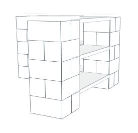 Shelving - 3 Level Corner Shelving Kit A/Thick Columns