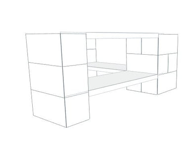 Shelving - 2 Level Corner Shelving Kit B/Thin Columns