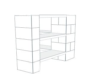 Shelving - 3 Level Corner Shelving Kit B/Thin Columns