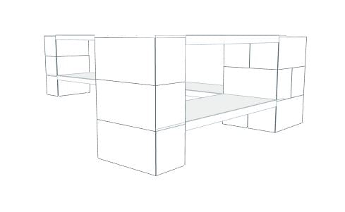 Shelving - 2 Level Corner Unit w/Thin Columns - 6 Ft 6 In x 3 Ft 6 In x 2 Ft 6 In