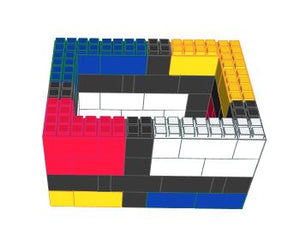 "Table Base - ""Mondrian"" Style Coffee Table - 4 x 3 x 2 Ft 1 In"