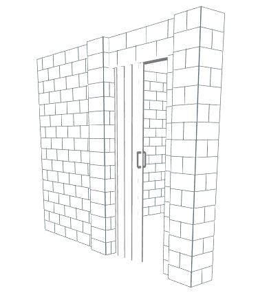 L Shaped Wall - W/ Door - 10 x 10 x 8 Ft