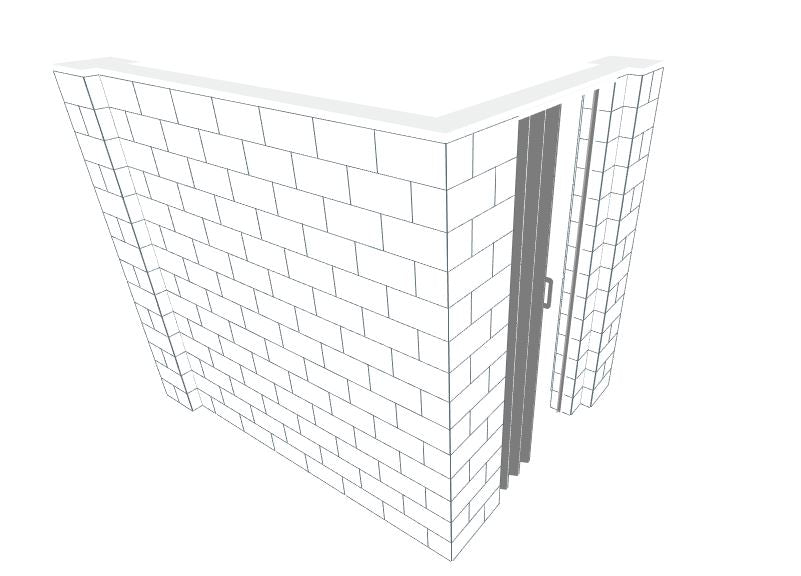 EverBlock L Shaped Wall Kit - W/ Door - 6' x 8' x 7'