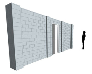 Simple Wall - Heavy Duty Columns W/ Door - 20 x 8 Ft