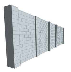 Simple Wall - Heavy Duty Columns - 30 x 8 Ft
