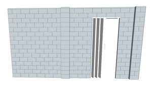 L Shaped Wall - W/ Door - 15 x 15 x 8 Ft