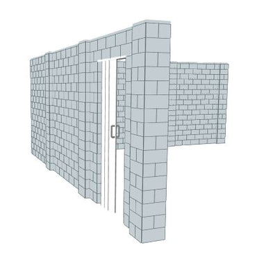 L Shaped Wall - W/ Door - 20 x 20 x 8 Ft