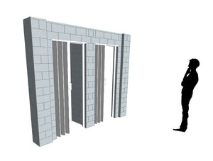 T Shaped Wall - W/ Door - 10 x 4 x 8 Ft