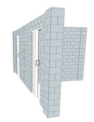 T Shaped Wall - W/ Door - 8 x 18 x 8 Ft