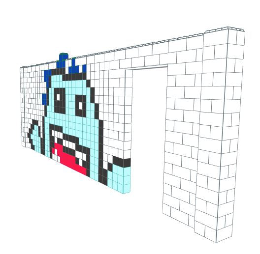 Mosaic Wall - Monster - 22 Ft 6 In x 1 Ft 6 In x 8 Ft 7 In