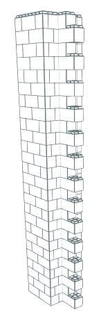 Wall Building Component - Supertall End Column 12-16 Ft