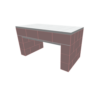 Table - Single Layer Top Coffee Table - 4 x 2 x 2 Ft 1 In
