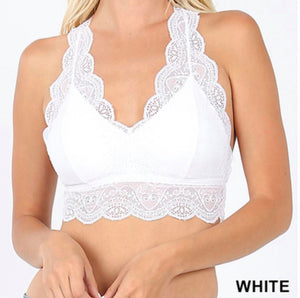 Lace Bralette with Hourglass Back - various colors