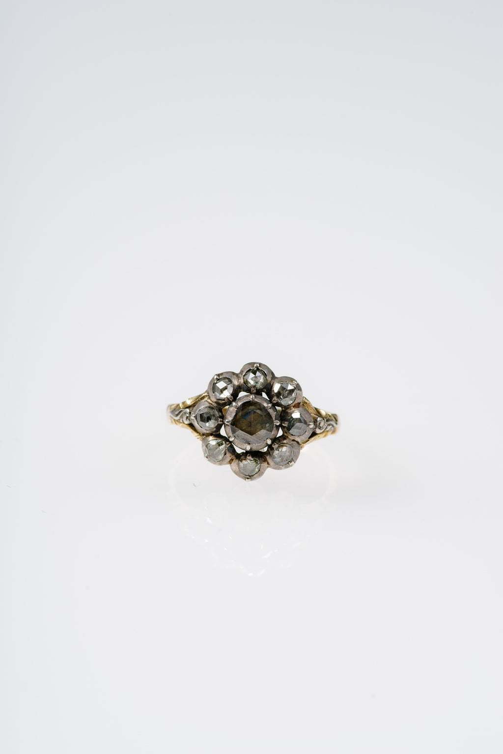 VINTAGE Georgian Era Rose Cut Diamond Cluster Ring