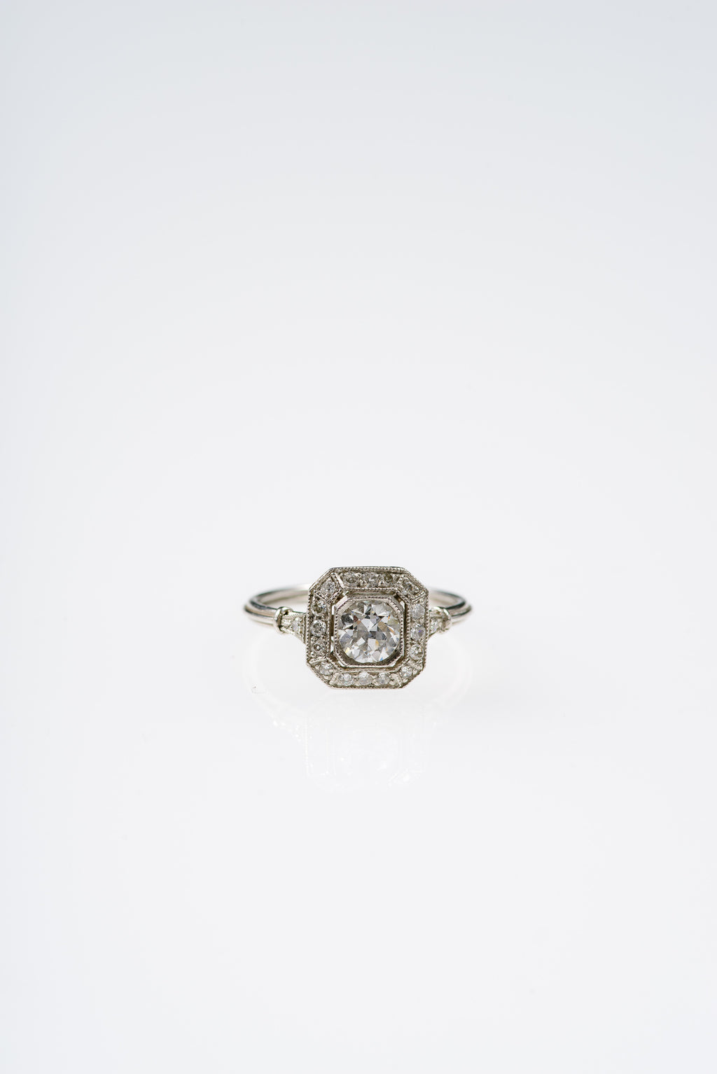 VINTAGE Art Deco Era Halo Ring in Platinum Gold and Diamond