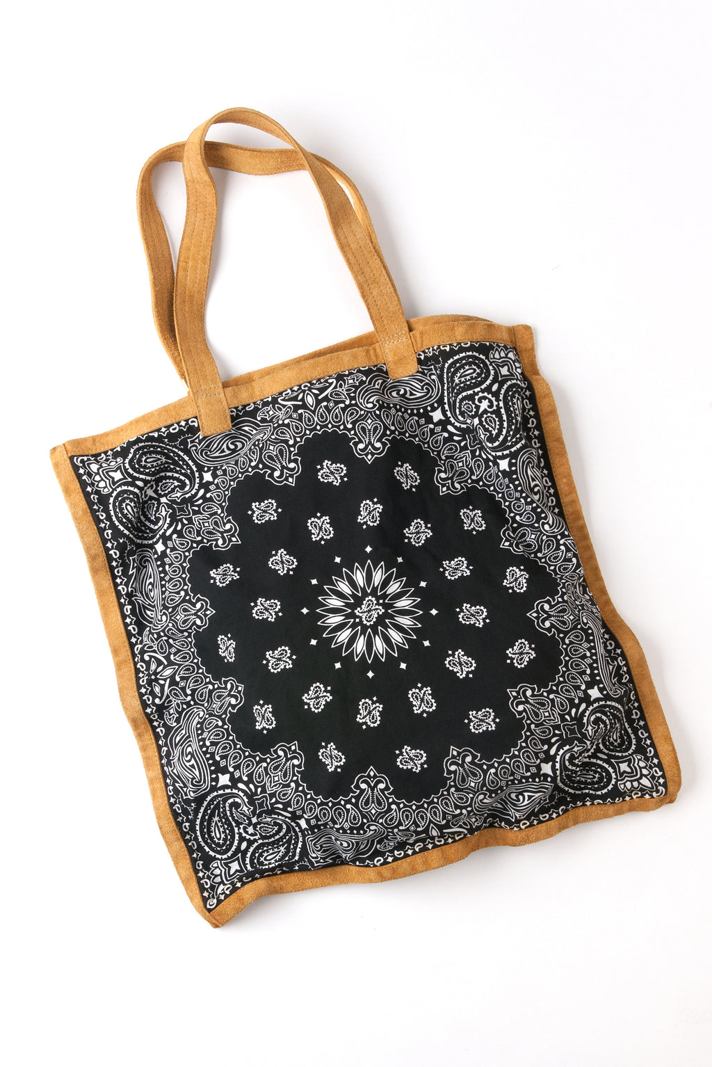 BANDANA TOTE IN BLACK AND NATURAL SUEDE